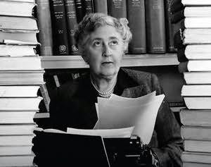 agatha christie with book stacks